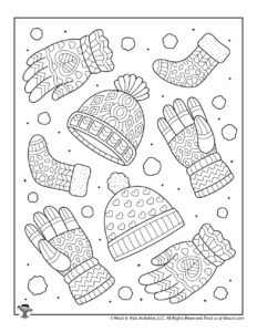 Warm Winter Wear Adult Coloring Page
