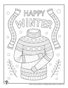 Happy Winter Sweater Free Coloring Sheets