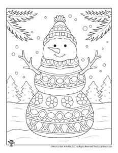 Snowman Printable Winter Coloring Pages