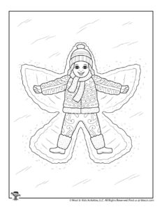 Winter Snow Angel Coloring Activity Page