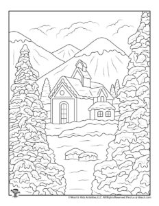 Winter Mountain Scene to Color