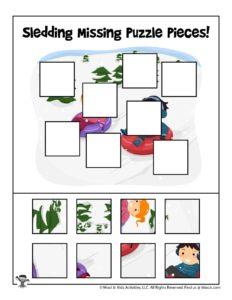 Winter Puzzle Cut & Paste Preschool Activity