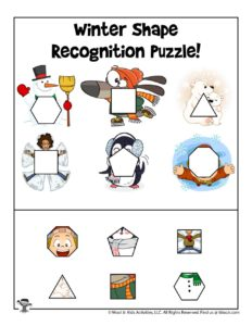 Shape Recognition Printable Puzzle Activity Page