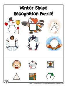 Shape Recognition Printable Puzzle Activity Page
