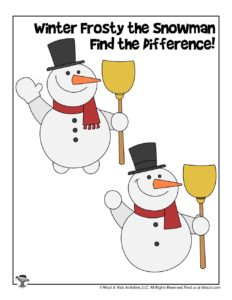 Winter Snowman Find the Differences Game for Kids