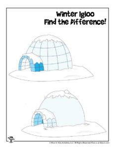 Igloo Spot the Difference Winter Activity Page for Kids