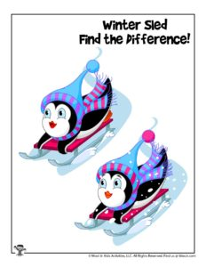 Winter Sledding Spot the Difference Game for Kids