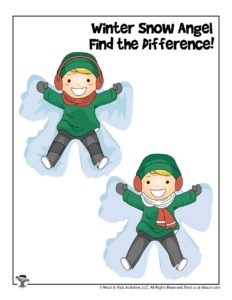 Snow Angel Find the Difference Activities for Pre-K