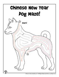 Dog Zodiac Sign Coloring Maze - KEY