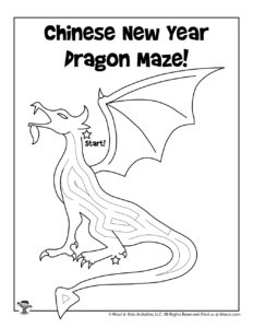 Chinese New Year Dragon Printable Maze Worksheet