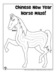 Lunar New Year Horse Maze Worksheet for Kids