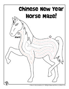 Horse Printable Coloring Page Maze - ANSWER KEY