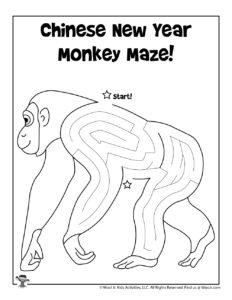 Chinese New Year Monkey Maze Activity Page