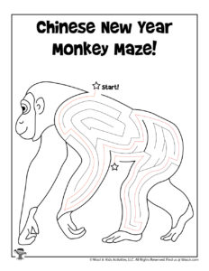 Chinese New Year Coloring Page Maze - ANSWER KEY