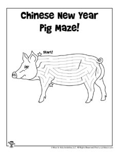 Chinese Zodiac Coloring Page Maze Worksheet