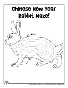 Rabbit Chinese Zodiac Maze Puzzle Worksheet