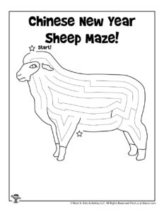 Chinese Horoscope Sheep Maze Activity Page