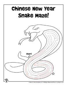 Chinese Zodiac Snake Maze Worksheet - KEY