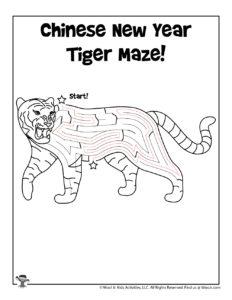 Zodiac Tiger Maze Puzzle Activity - KEY