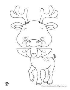 DIY Paper Puppet Deer Coloring Page