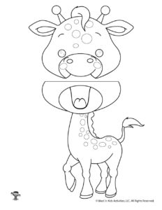 Giraffe Coloring Page Puppet Craft