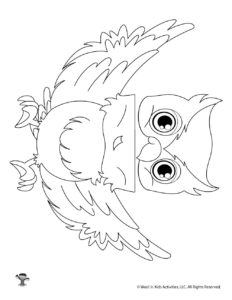 Owl Puppet Coloring Page Craft