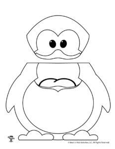 Penguin Coloring Sheet Craft Puppet