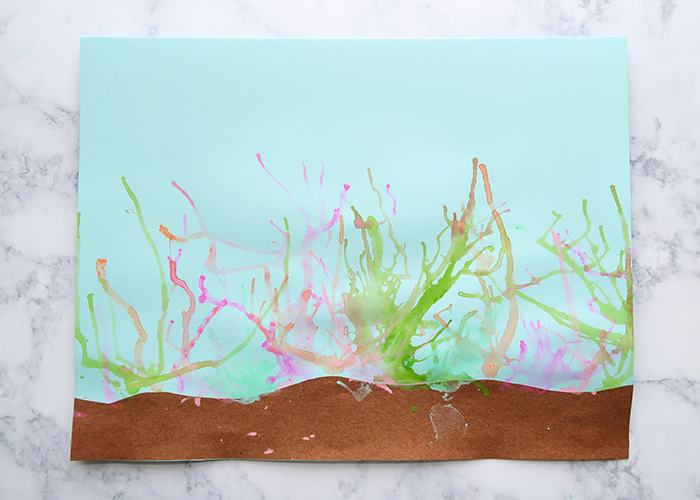 Ocean Coral Blow Painting Art Project