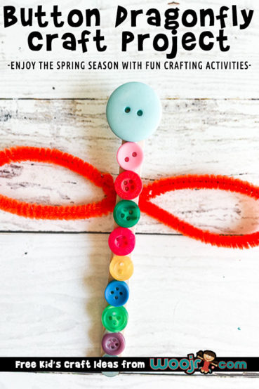 Dragonfly Kids Craft with Buttons and Popsicle Sticks