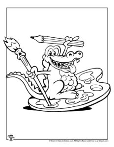 Alligator Art Coloring Page