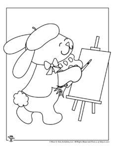 Bunny Artist Printable Coloring Sheet