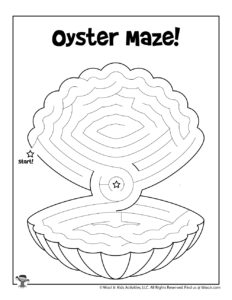 Oyster Shell Printable Maze for Kids