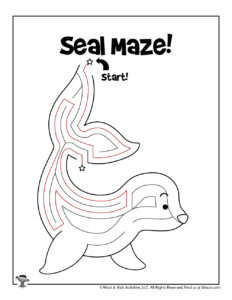 Seal Ocean Coloring Maze - ANSWER KEY