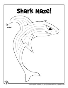 Shark Maze Activity Worksheet for Kids