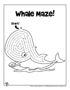 Whale Labyrinth Maze Kids Activity Sheet