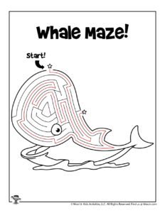 Whale Ocean Maze Maze Kids Activity Worksheet - KEY