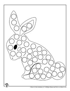 Chocolate Bunny Printable Dot Coloring Pages