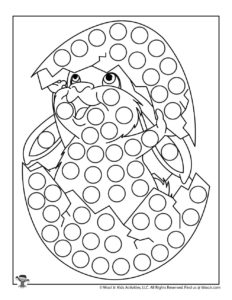 Easter Chick Dot Marker Free Coloring Page