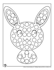Easter Bunny Dot Marker Coloring Page