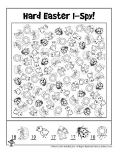 I Spy Printable Activity for Kids - ANSWER KEY