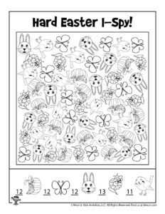 Difficult I Spy Easter Activity Page - KEY