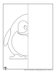 Penguin Mirror Drawing Worksheets for Kids