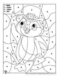 March Penguin Preschool Coloring Worksheet