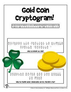 Printable St. Patrick's Day Word Puzzles - KEY