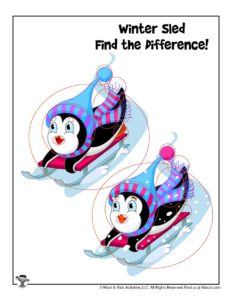 Winter Find the Difference Activities to Print - KEY