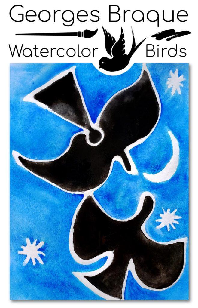 Braque Watercolor Birds Cubism Art Project for Kids Age 4-6