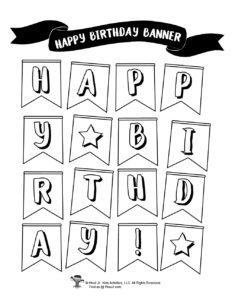DIY Happy Birthday Banner Coloring Pages