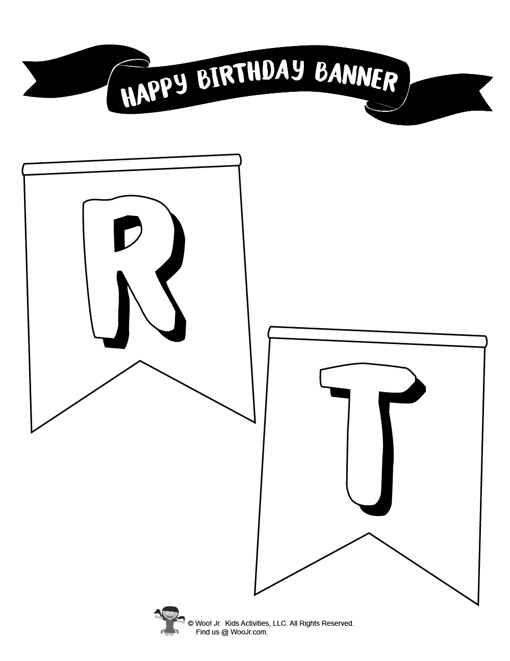 Happy Birthday Party Banner Coloring Pages   Woo Jr. Kids Activities