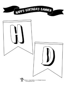 Black and White Birthday Pennant Banner for Parties