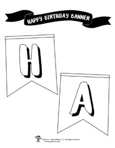 Printable Coloring Birthday Party Banner